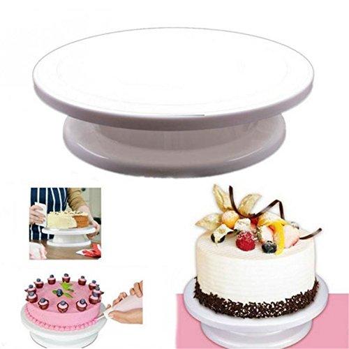valink DIY Kuchen Zuckerguss manuell drehbar Plattenspieler Turntable, Cupcake, Kuchen, Montage Werkzeug Kuchen Ständer für Home Küche Supplies, 28cm Durchmesser, weiß - Revolving-cupcake
