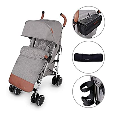 Ickle Bubba Baby Strollers | Lightweight Stroller Pushchair | Compact Fold Technology for Easy Transport and Storage | UPF 50+ Extendable Hood | Discovery Prime, Grey/Silver