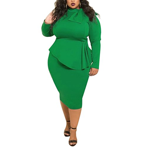 Ydncmgga Fliege Mock Neck Plus Größe Frauen Bodycon Bleistift Langarm Party Arbeit Kleid (Color : Green, Size : 3XL) -