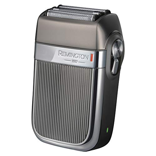 Remington HF9000 Folienrasierer Heritage im Retro-Design, Dreifachschneidesystem, zwei LiftLogic-Folien, Hybrid-Intercept-Trimmer, 3-stufige LED-Ladeanzeige, grau