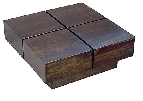 TimberTaste Solid Wood Coffee Table (Lacquer Finish, Brown)