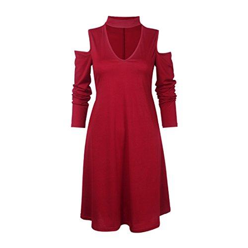 Shinekoo Femmes Profond V-cou à Manches Longues Off-épaule Décontractée Robe Soiree Vin rouge