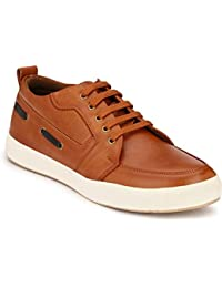 Real Blue Men's Black Casual Synthetic Leather Lace Up Sneaker , Casual Shoe For Men , Men Leather Shoe , Casual...
