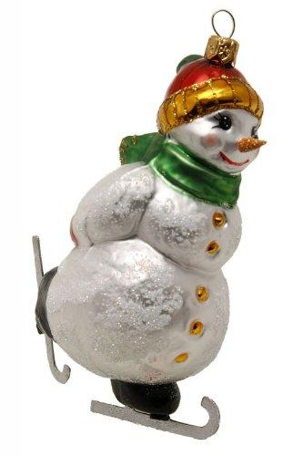 Hamburger Weihnachtskontor - Außergewöhnlicher Christbaumschmuck -Schneemann auf Schlittschuhen grün
