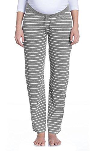 Nitis Umstandsmode Nightwear Pyjama Umstands-Loungehose Damen Hose // Offwhite/Grey Gr. S