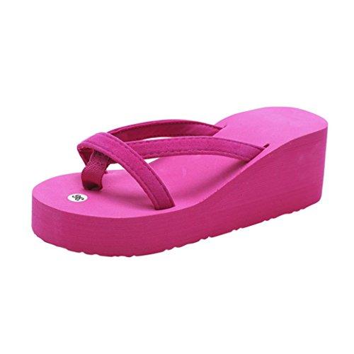 FNKDOR Damen Sommer Keilabsatz Zehentrenner Plateau Flip Flop Strand Sandalen Schuhe Pantoletten (35, Rosa)