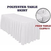 Polyester Table Jupes Coton Polyester Table Jupes en haut avec dessus de table avec table Clips Nappe Nappe de Noël (4,3 m (426,7cm), Blanc)