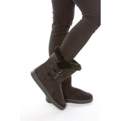 Princesse boutique - Boots fourrées NOIRES à scratchs Noir