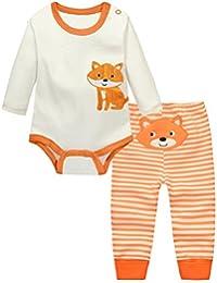 Bebé Body Manga Larga con Leggings Recién Nacido Mameluco y Pantalones 2 Piezas Traje De Sistema De La Ropa