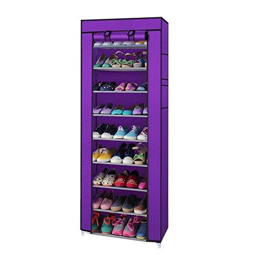 Loveusexy 10 Tiers Portable Schuhregal mit Staubdicht Abdeckung Non Woven Schrank Kleiderschrank Schuhschrank Veranstalter mit Seitentaschen Purple (Schrank Aufbewahrung Kleiderschrank Veranstalter)