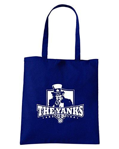 T-Shirtshock - Borsa Shopping WC0631 USA T-SHIRT - YANKS ARE COMING Blu Navy