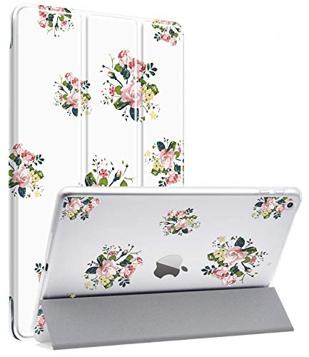 Dailylux New iPad 2017/2018 Hülle Slim Smart Folio Stand Cover Transparent PC-Rückseite Auto Wake Sleep-Funktion Hülle für Apple iPad 2017/2018 9.7 Zoll-Blume