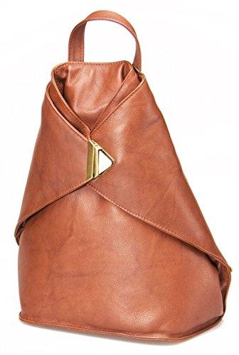 Visconti # 18259 Unisex Rucksack aus weichem Leder, sicheres Design Braun