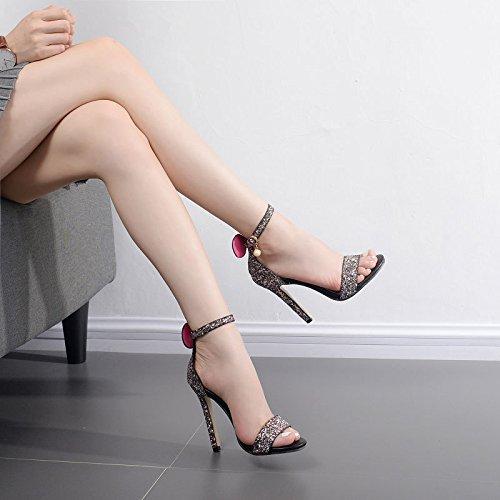 BBSLT-In Estate Semplice E Fibbia Scanalato Sandali Elegante Tacco Alto Calzature Donna Black