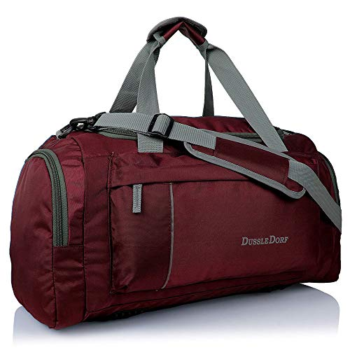 Dussle Dorf Polyester 40 Liters Maroon and Grey Travel Duffel...
