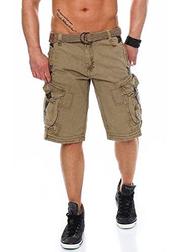 Geographical Norway Herren Cargo Shorts, Farbe: Beige, Größe: XL Perlen-hosen