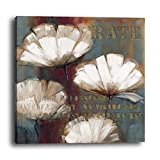 wowdecor Art Wand Moderne Leinwand Prints Gemälde–Weiß Blumen Pflanze Quotes Worte Art Bilder auf Leinwand gedruckt, Wanddekoration für Home Wohnzimmer Schlafzimmer–DIY Rahmen, a, S