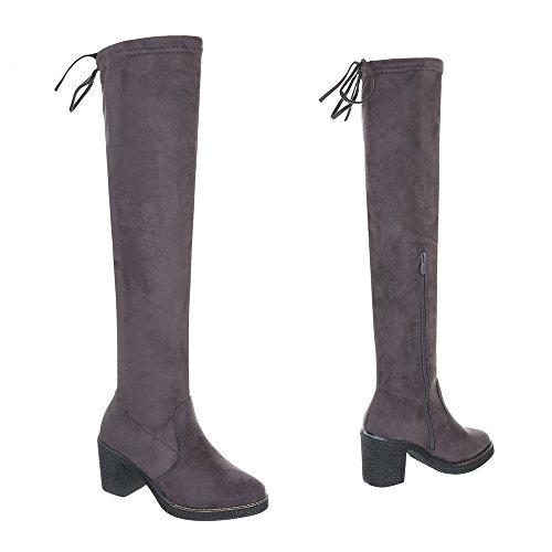 Overknees Damenschuhe Overknees Blockabsatz Moderne Reißverschluss Ital-Design Stiefel Grau
