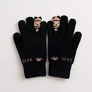 WWF Winter Gestrickte Fünf Finger Mode Persönlichkeit Plus SAMT Warme Cartoon Strick Studentin Handschuhe