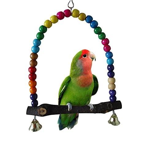 Oiseaux Jouet Perroquet Oiseau en bois Balançoire Toys Cage Suspendre pour Parakeet Cockatiel Inséparable Budgie (30cm x 30cm, B)
