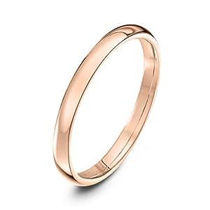 Theia Unisex Heavy Court Shape Polished 9 ct Rose Gold 2 mm Wedding Ring - Size I