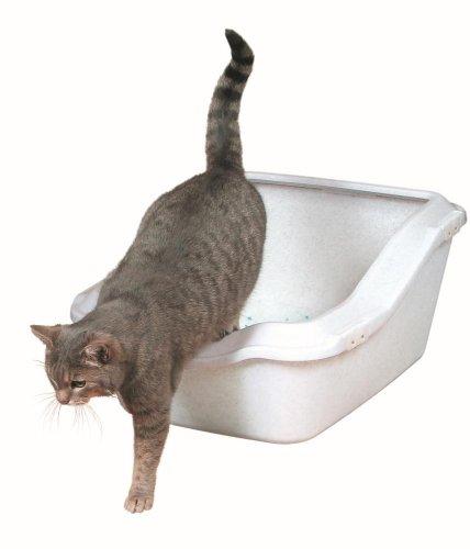 Trixie 40371 Cleany Cat Katzentoilette mit Rand, 45 × 21 (29) × 54 cm, granit-weiß