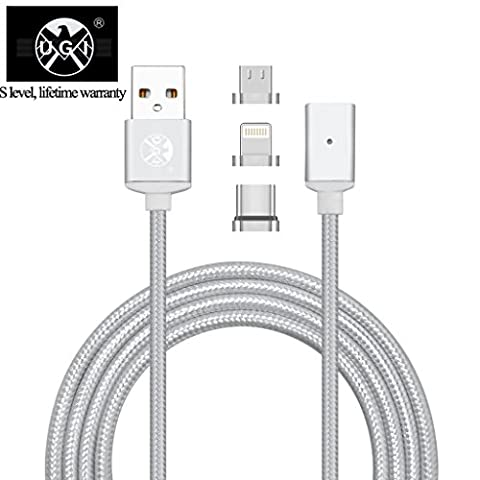 UGI® 3.3 Feet Nylon Braided Super Magnetic Phone Charger Cable Type-C Micro USB Lightning 3-in-1 Charging Data Syn Cord 3 Adapters for Android iPhone Devices