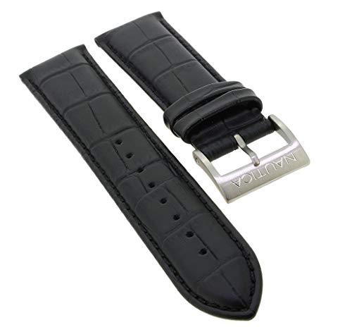 Nautica Ersatzband Uhrenarmband 24mm | Leder Band schwarz mit Krokoprägung für NAI19510G