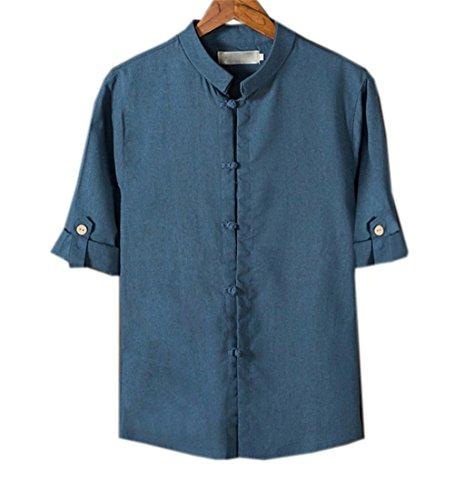 COCO clothing Verano Camisa Hombre Lino Blusa Caballero Tops Cuello Mao Casual Camiseta Estilo de China Shirt (azul-a, L)