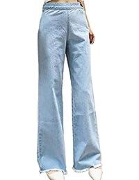 Donna Jeans Pantaloni Larghi - A Vita Alta vestibilità Slim Tinta Unita  Casuale Pantaloni Lunghi Moda cad49f64bc49