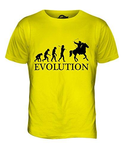 CandyMix Arciere A Cavallo Evoluzione Umana T-Shirt da Uomo Maglietta Giallo Limone