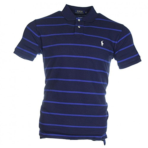 Ralph Lauren Herren Kurzarm Polo - Gestreift - Custom Fit - Premium Cotton  Navy / Blau