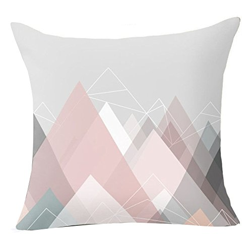 Pu Ran Flower Geometric Pattern Throw Pillow Case Cushion Cover Home Sofa Decor - 17 Pink Graphic