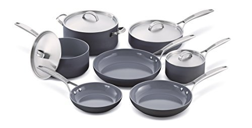 GreenPan Paris 11 Piece Hard Anodized Non-Stick Ceramic Cookware Set by The Cookware Company