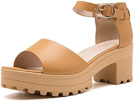HY Sandalias de la hebilla de la palabra del dedo del pie abierto de la señora del verano 6.5cm de los altos talones...