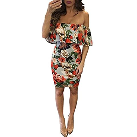 Goodsatar Fashion Women Sexy Slim Off Shoulder Print Short Dress (L, Pink)
