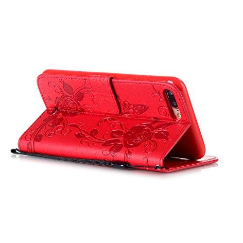 iPhone Case Cover Strass-Dekor Fall Geprägte Blumen Schmetterlings-Fall PU-Leder-Kasten-Mappen-Kasten mit Handschlaufe für iPhone 7 Plus ( Color : Red , Size : Iphone 7 Plus ) Red