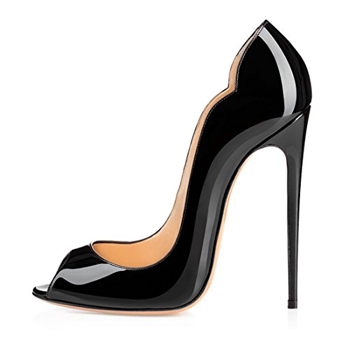 14130cf65d elashe - Scarpe da Donna - Peep Toe Slingback Sandali - Tacco a ...