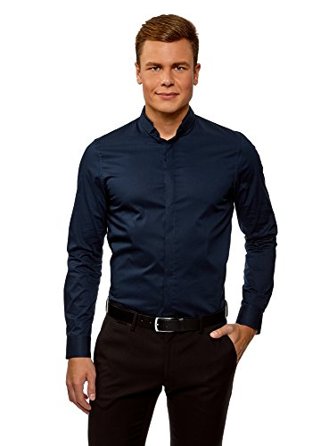 Oodji ultra uomo camicia slim fit con collo coreana, blu, 44cm/it 54/eu 44/xl
