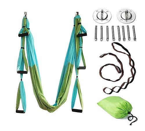 JIALFA Amaca antigravity Yoga,Altalena Yoga, praticando Yoga Aerea,flessibilità migliorata Modella Il Corpo - Accessori di Montaggio Inclusi (Cuciture Verde)