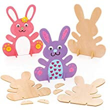 Baker Ross Design Your Own Wooden Bunny, Easter Arts and Crafts Painting Activities for Children (Pack of 6), AR974
