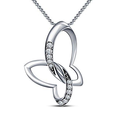 Twisted Vorra-Ciondolo a forma di farfalla placcata in oro 14 k, con zirconia cubica e argento Sterling 925, colore: bianco