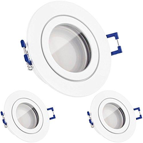 3er IP44 LED Einbaustrahler Set Weiß matt mit LED GU10 Markenstrahler von LEDANDO - 5W - warmweiss - 120° Abstrahlwinkel - Feuchtraum / Badezimmer - 35W Ersatz - A+ - LED Spot 5 Watt - Einbauleuchte rund