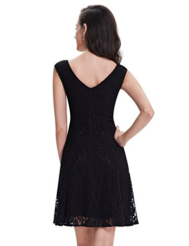 Alisapan Einfach Modisch Aermellos Kurz Gebleumt Lace Casual Kleid 05331 Schwarz