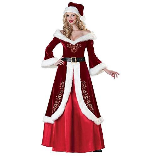 Claus Kostüm Santa Muster - Yunfeng weihnachtsmann kostüm Damen Langarm-Weihnachtskostüm Verdickung Santa Claus Kostüm Erwachsene Paar Dress Party Leistung Kostüm Kostüm Erwachsene Weihnachtsfeier Cosplay Kostüm