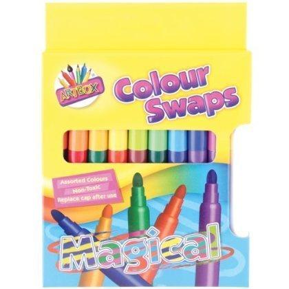 2 X Artbox colour swap magic pens - assorted colours felt tips
