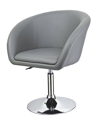 Clubsessel in Grau Esszimmerstuhl höhenverstellbar Kunstleder Drehsessel Coctailsessel Lounge Sessel Duhome 0261