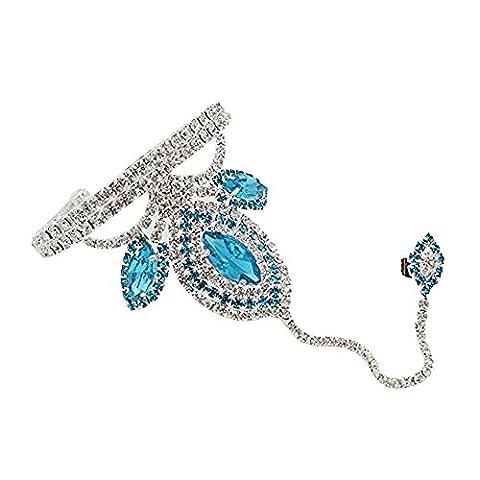 Contever® Mode Bijoux Bague Chaîne Strass Bracelet Ring pour Femme (Lac bleu)