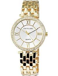 Excellanc llanc 1510Mujer Reloj De Pulsera goldfraben con brillantes y correa de metal