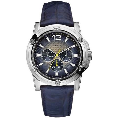 Guess Guess Sport Steel W11531G2 - Reloj analógico de caballero de cuarzo con correa de piel azul - sumergible a 30
